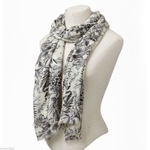Cream Soft viscose with black and gray floral print scarf