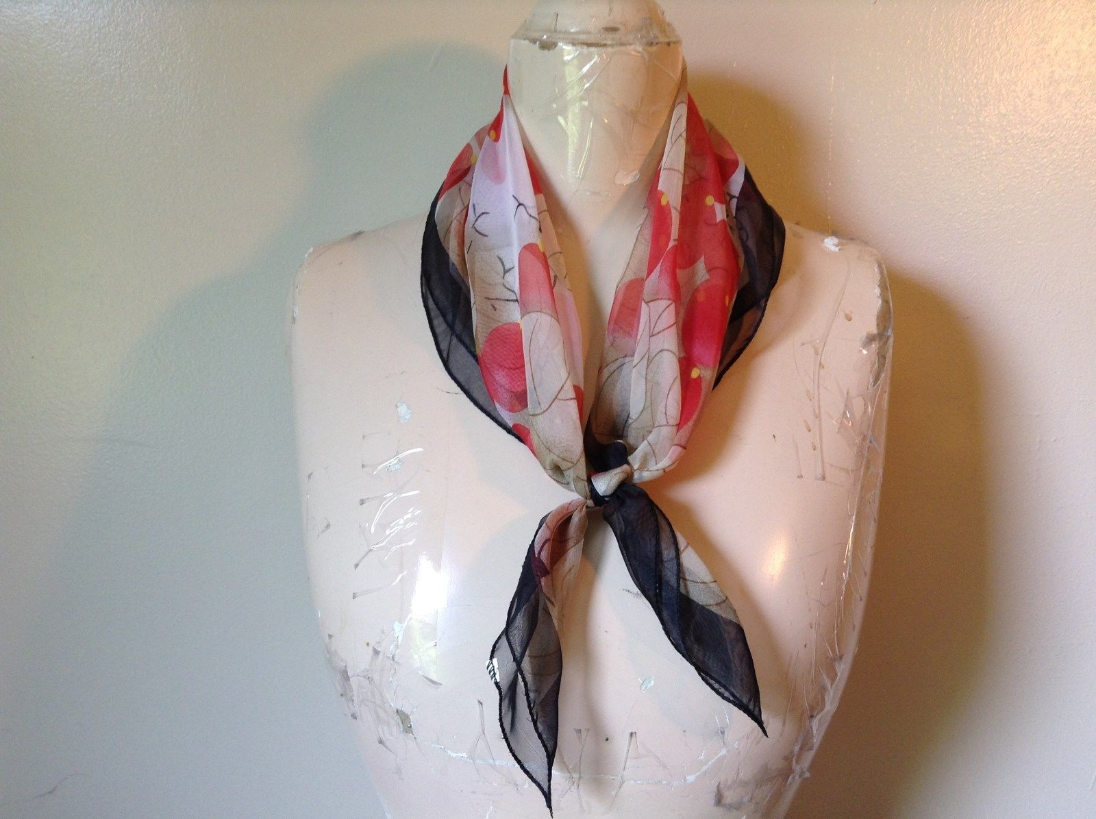 Cream Black and Red Square Scarf Black Border Red Berries Black Branches