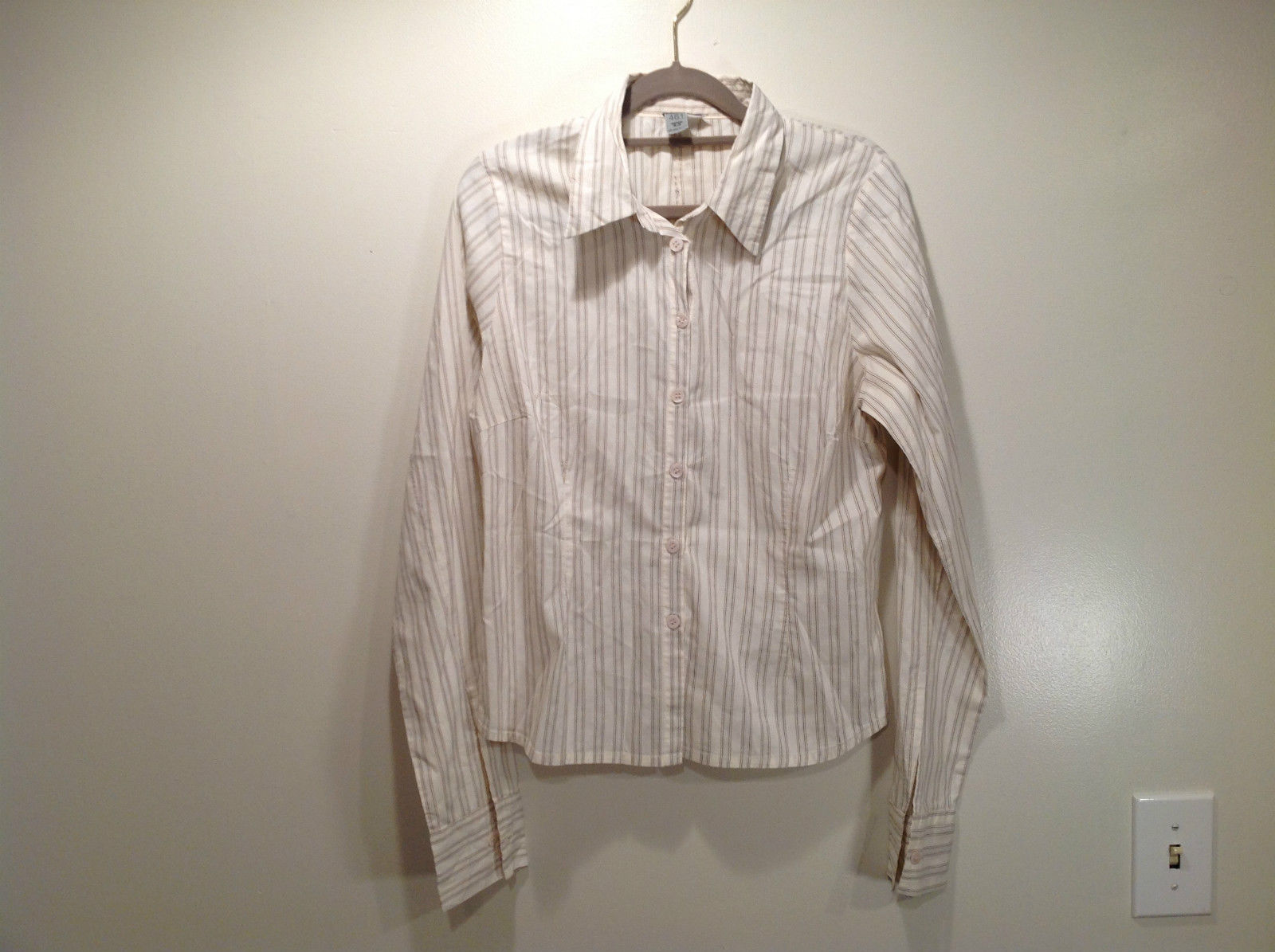 Cream Colored Long Sleeve Collared Button Up Striped Blouse No Size Tag