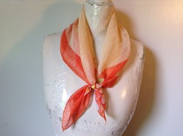 Cream and Orange Square Scarf with Flowers in Each Corner Measurements Below image 1