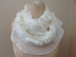 Creme Colored Pretty Frilly Furry Infinity Scarf Length One Side 28 Inches