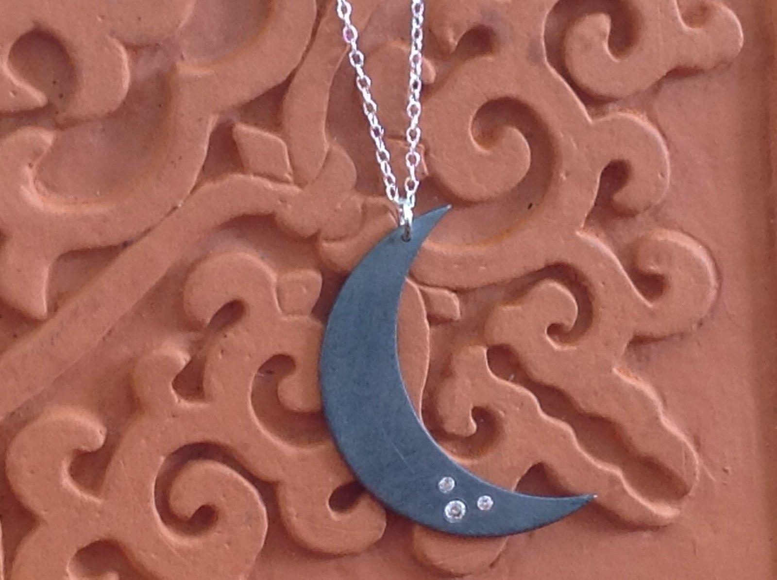Crescent gunmetal Black oxidized silver Moon Necklace 3 tiny CZs Zina Kao USA