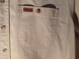 Casual Off White Button Up Collared Short Sleeve Shirt Carhartt 2 Pockets image 2