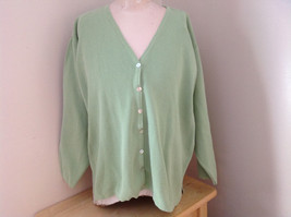 Croft & Barrow Pale Green Three Quarter Length Sleeves Button Up Sweater Size L