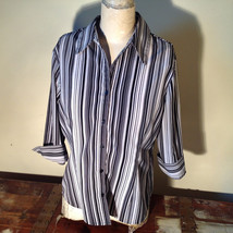 Croft and Barrow Black and White Striped Blouse Button Down with Collar Size M