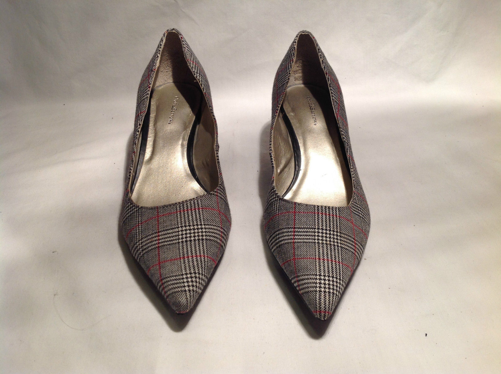 Croft and Barrow Plaid Pattern Gray White Black Red Heels Size 8M