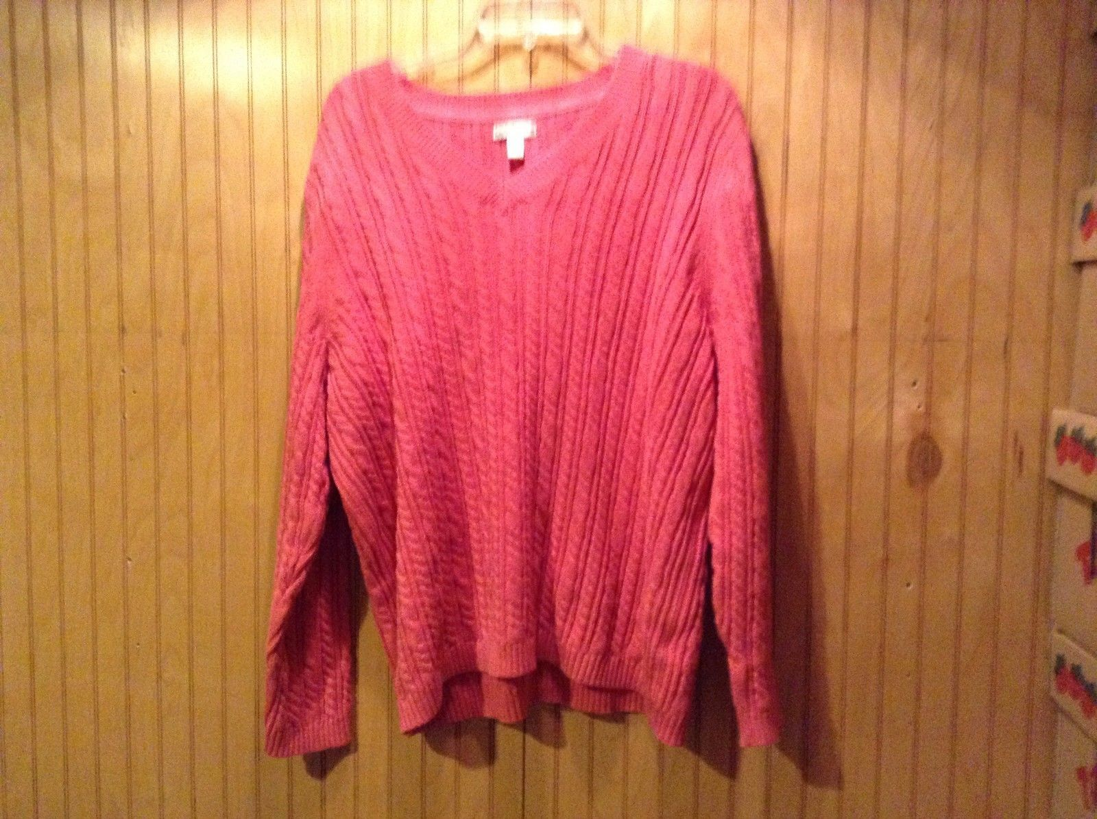 Croft & BarrowPink Long Sleeve V-Neck Sweater Women