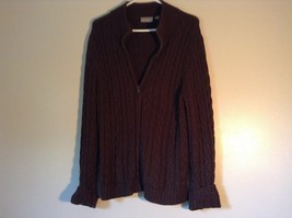 Croft and Barrow Brown Zip Up Long Sleeve Cardigan Sweater Size Large