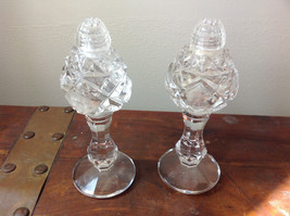 Crystal 2 Piece Salt and Pepper Shakers Engraving Etching Excellent Condition