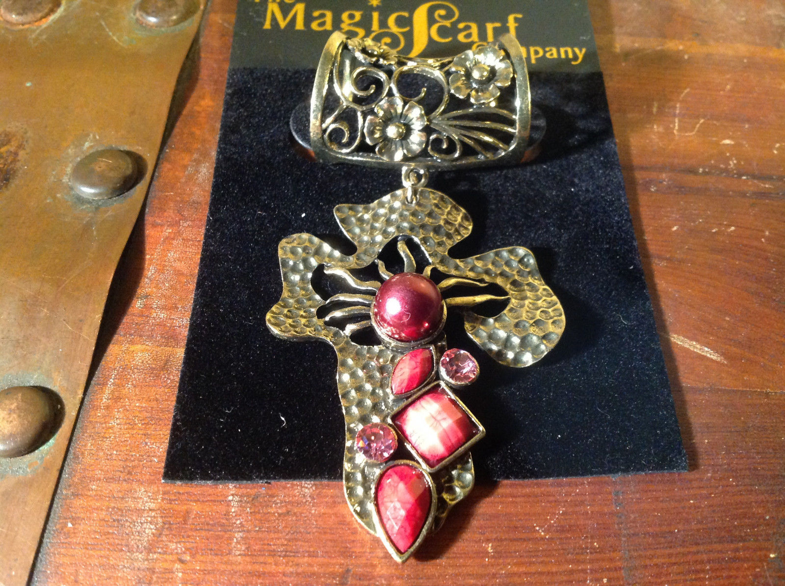 Cross Shaped Light Gold Tone Scarf Pendant with Red Beads Stones and Crystals