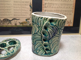 Ceramic Blue Green Handmade Toothbrush Holder large family cleans inside image 6