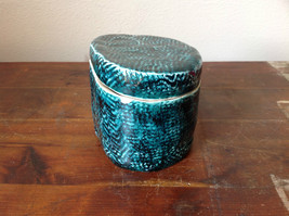 Ceramic Hand Crafted Artisan Jar Trinket Box Deep Sea Green 1999 SVSH image 2