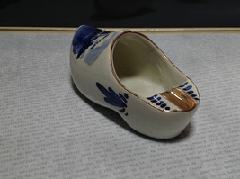 Ceramic Hand Painted Dutch Shoe with Windmill Made in Holland Gold Tone Accents image 4