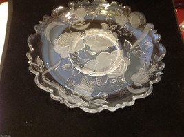 Crystal glass and frosted floral serving or cake platter made in Japan vintage
