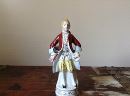 Ceramic Japanese Figurine Man in Red Coat Tall Hand Painted Vintage image 2