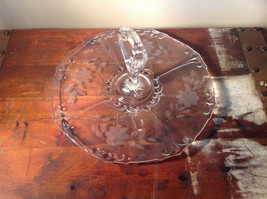 Crystal Glass Serving Tray with Handle Copper Wheel Engraving Flowers Leaves