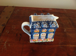 Ceramic Hand Painted Creamer with Spout and Handle Shaped to Look Like a House image 3