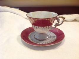 Cup saucer maroon pedestal w scroll flourish gold trim National Potteries