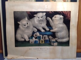 Currier and Ives Lithograph My Three White Kitties Learning their A B C