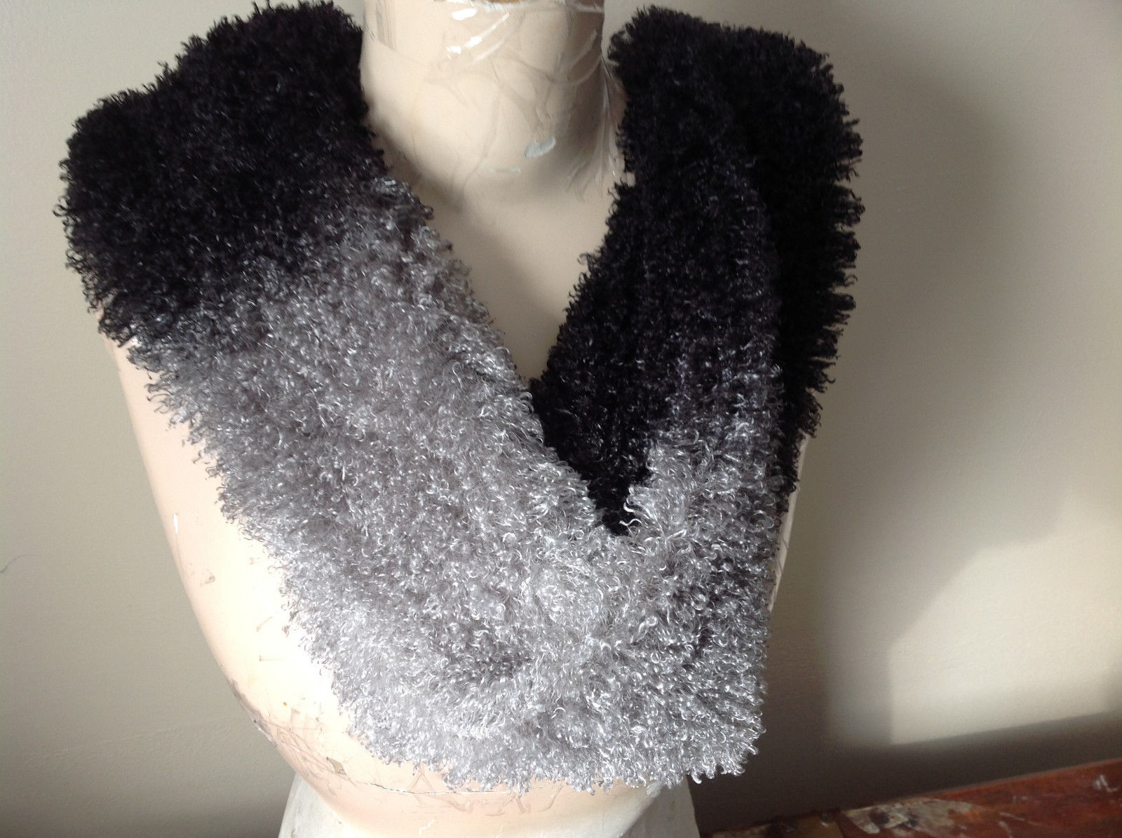 Curly Faux Lamb in Black and Gray Scarf See Measurements Below