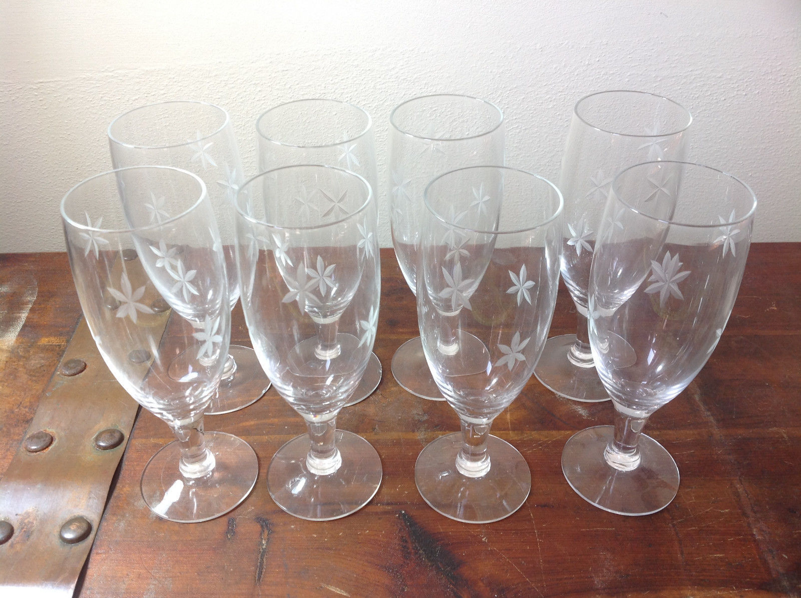 Crystal Handmade Eight Pieces Champagne Glasses Copper Wheel Engraving