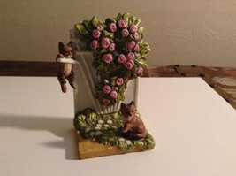 Cute Porcelain Kittens Playing Around Rose Gate Bush Figurine Display Piece