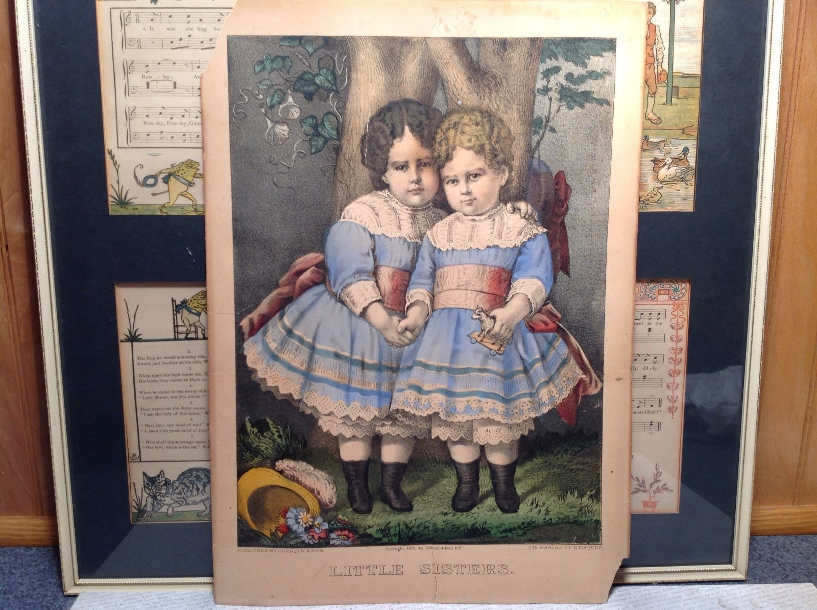 Currier Ives Lithograph 1875 colorized Little Sisters