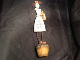 Wooden vintage retro Cupcake Girl Decoration I Need Cupcakes Now image 1