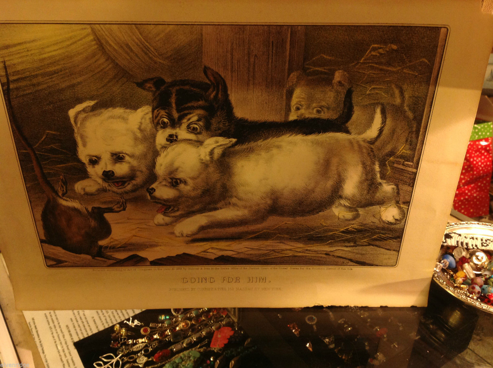 Currier and Ives Lithograph dated 1868 Westie dogs and rat titled Going For Him