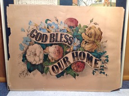 Currier and Ives Lithograph colorized God Bless our Home circa late 1800s