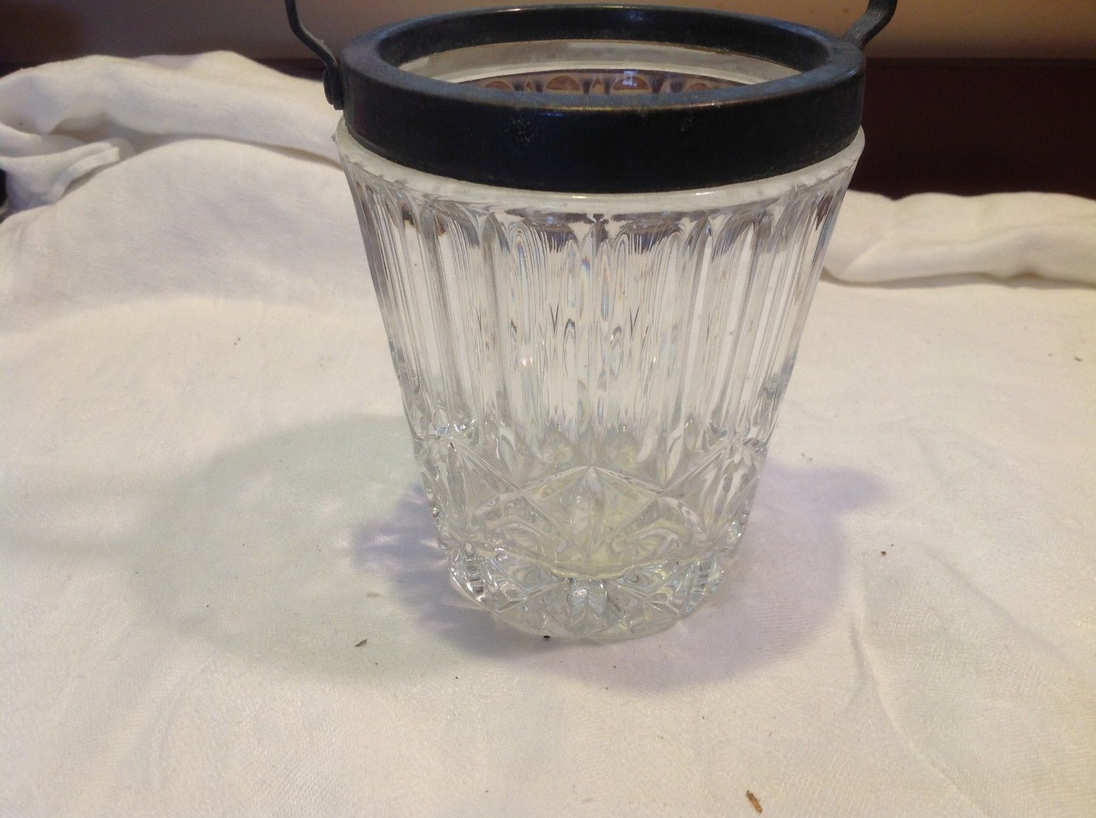 Cut crystal vintage mini ice bucket w silverplate handle from estate