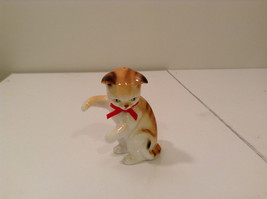 Cute Brown and White Cat with Red Bow Tie and Black Stripes Figurine