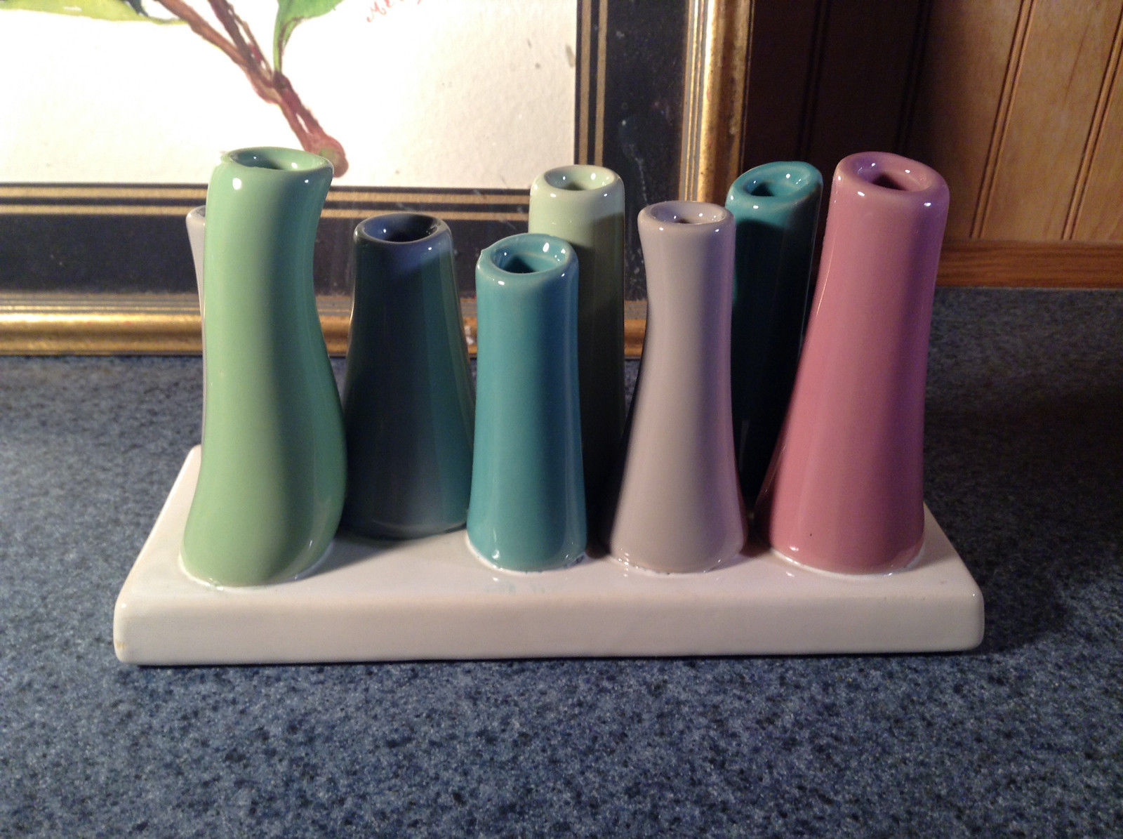 Cute Ceramic Eight Colorful Flower and or Stem Holder on Rectagular Base