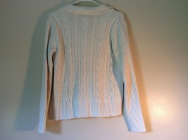 Chaps White Long Sleeve 100 Percent Cotton Sweater Fancy Button at Neck Size L image 4