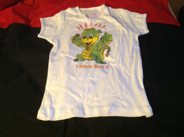 Cute Brands White Short Sleeve Shirt Rock Star Dragon on Front Size Small