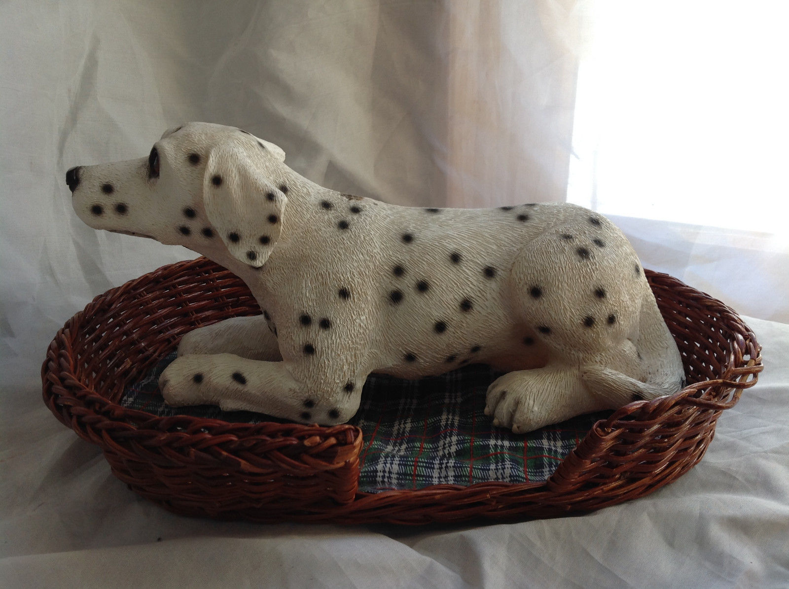 Cute Dalmatian Statue Laying in Basket Bed See Measurements Below