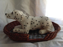 Cute Dalmatian Statue Laying in Basket Bed See Measurements Below image 1