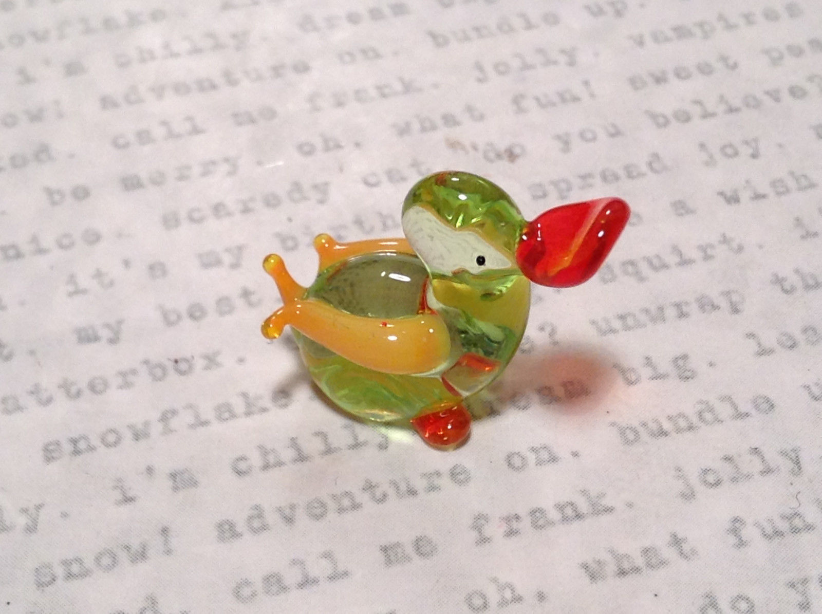 Cute Hand Blown Glass Mini Figurine Light Green and Yellow Duck Made in USA