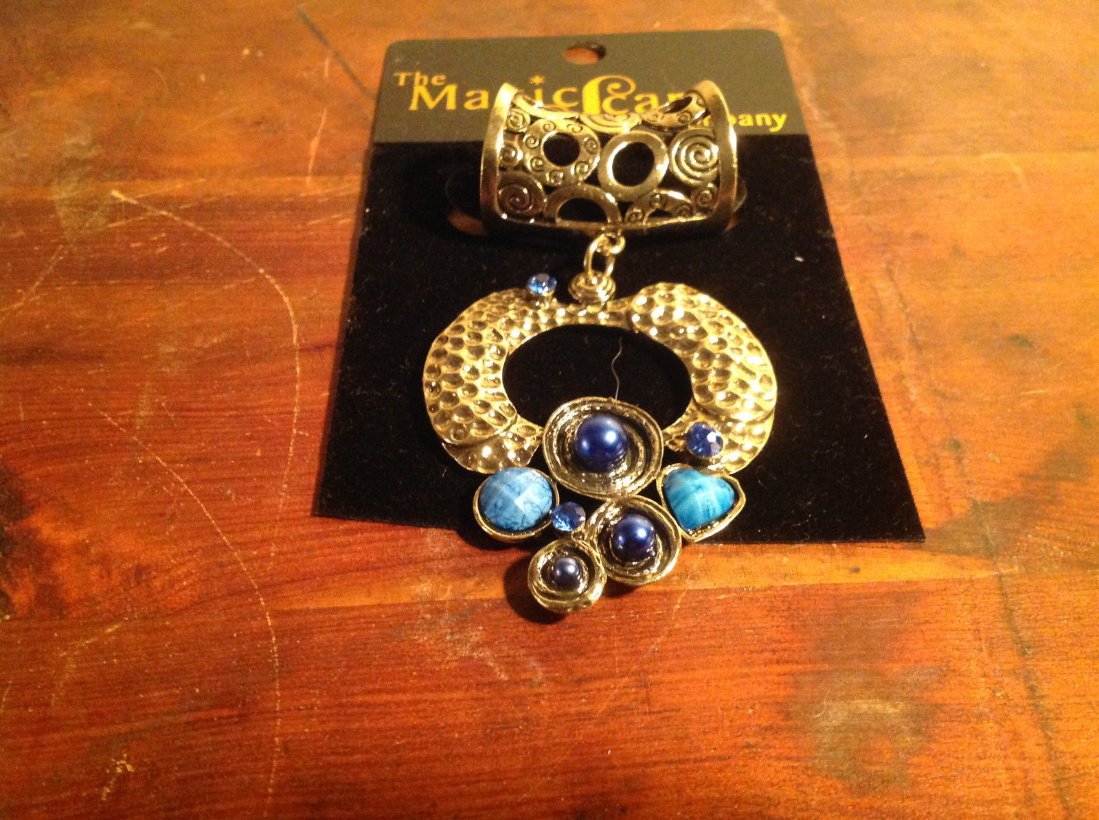 Cute Circular Gold Tone Scarf Pendant with Blue Beads Stones and Crystals