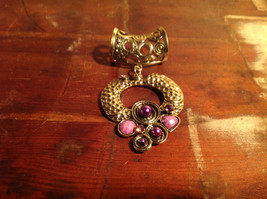Cute Circular Gold Tone Scarf Pendant with Purple Beads Stones and Crystals