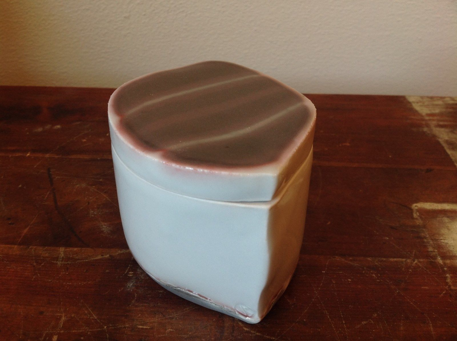 Primary image for Cute Handmade Gray and Purple Clay Trinket Box with Lid