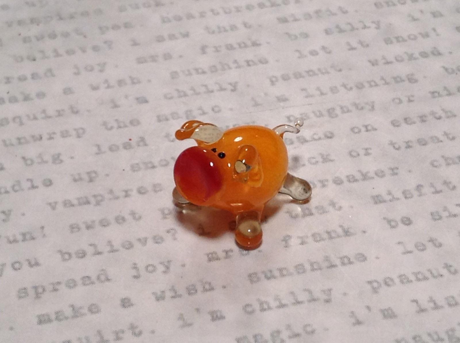 Cute Hand Blown Glass Mini Figurine Orange Piglet Made in USA