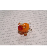 Cute Hand Blown Glass Mini Figurine Orange Piglet Made in USA - $19.79