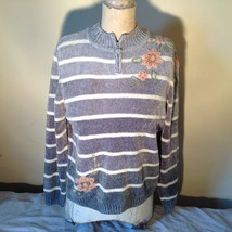 Cute Gray Sweater Very Soft Alfred Dunner Petite Stripes and Flowers Size PM image 1
