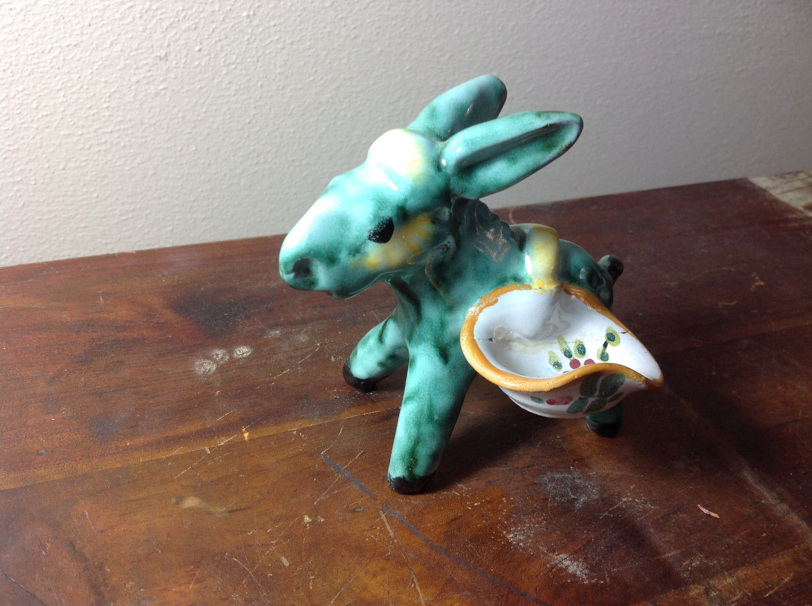 Cute Handmade Hand Painted Green Donkey with Little Tray on Side