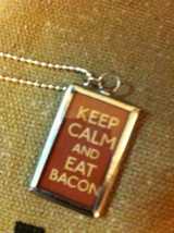 Charm Necklace Keep Calm and Eat Bacon and Bacon strips on reverse w ball chain image 4