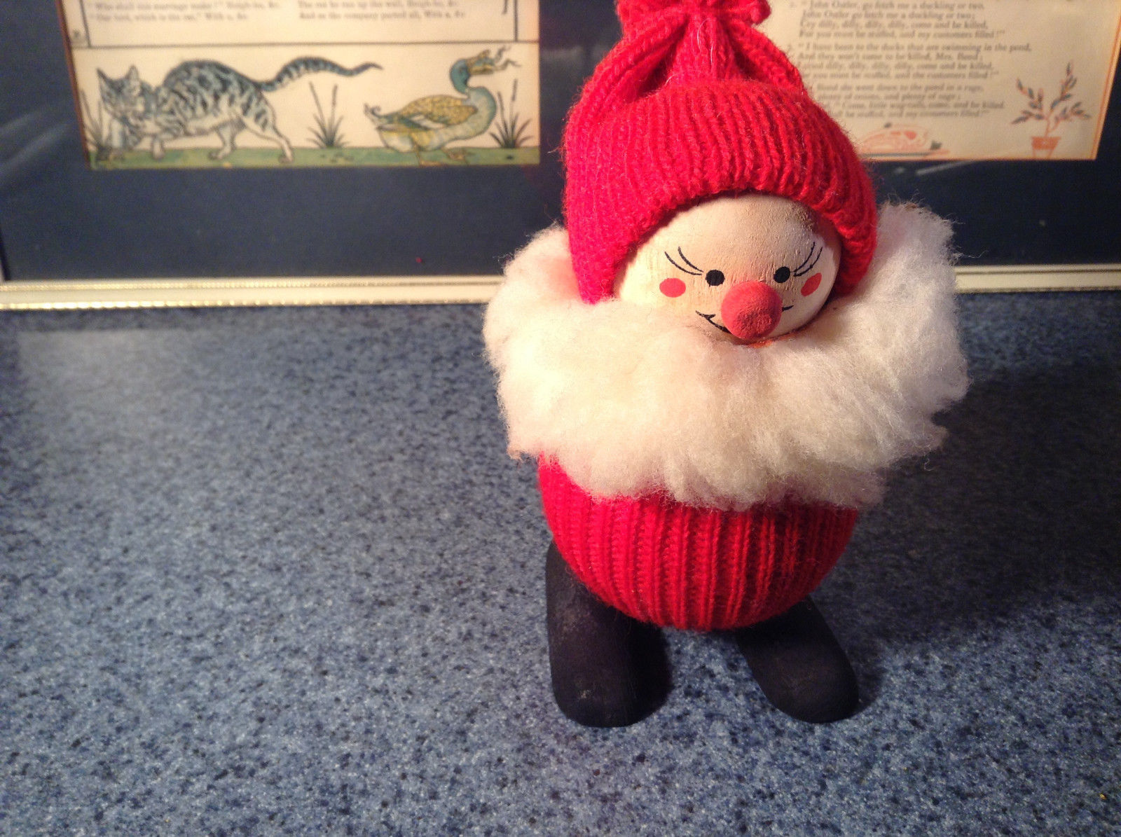 Cute Little Wooden Doll with Red Sweater and Hat with Beard Made in Sweden
