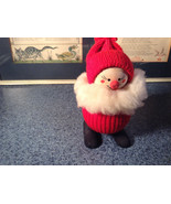 Cute Little Wooden Doll with Red Sweater and Hat with Beard Made in Sweden - $74.24