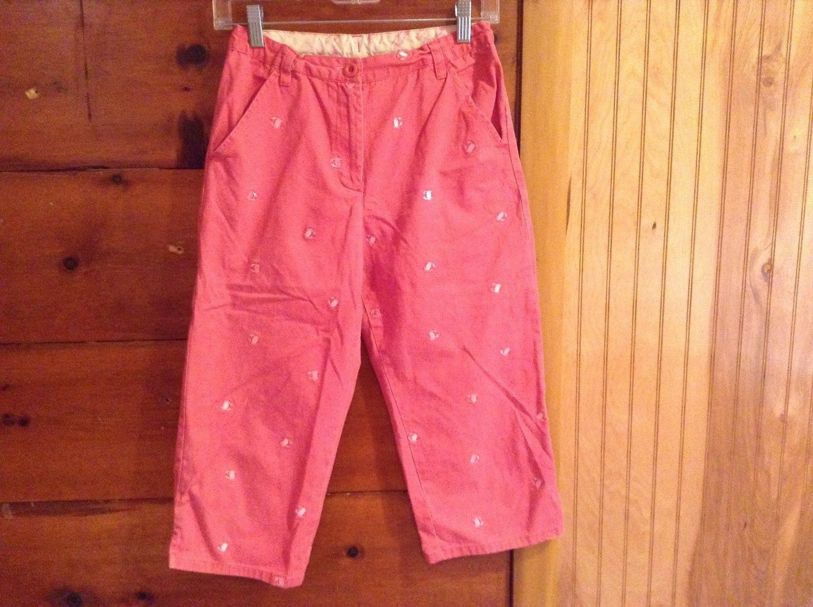 Cute Pink Pants with Crabs L L Bean 100 Percent Cotton Size 16