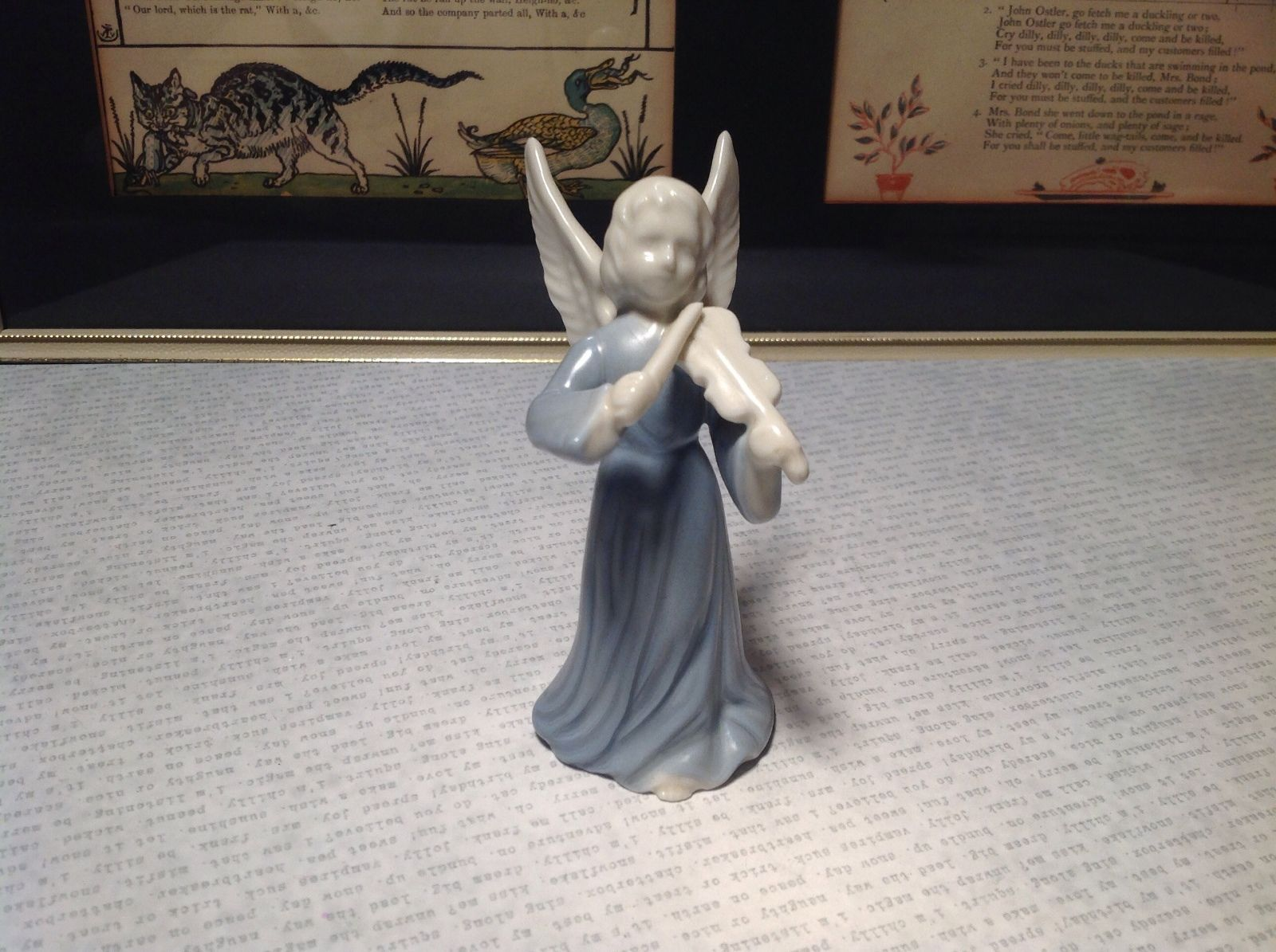 Cute Porcelain Angel Figurine with Violin White and Light Blue